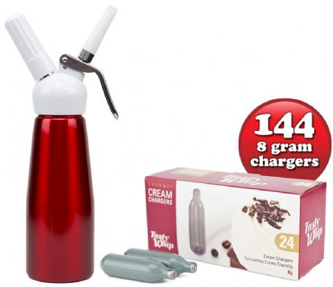 144 Tasty Whip chargers & 1/2 litre Tall cream dispenser.  Choice of 5 Colours.